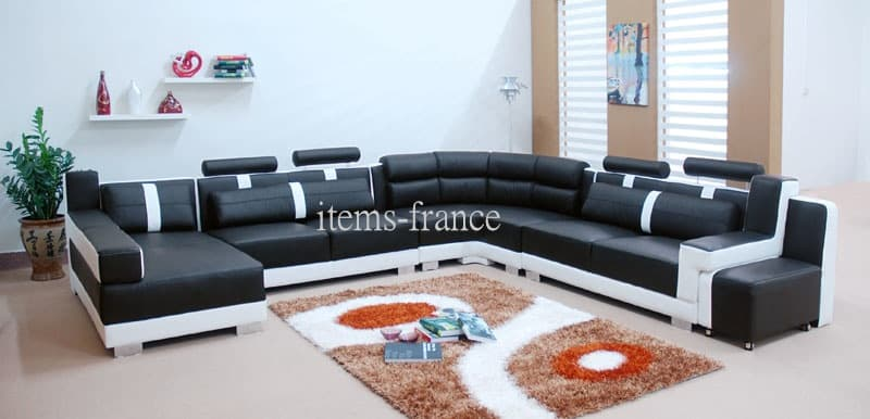 Canape panoramique cuir salon livida canape cuir 7 for Salon 7 places modernes