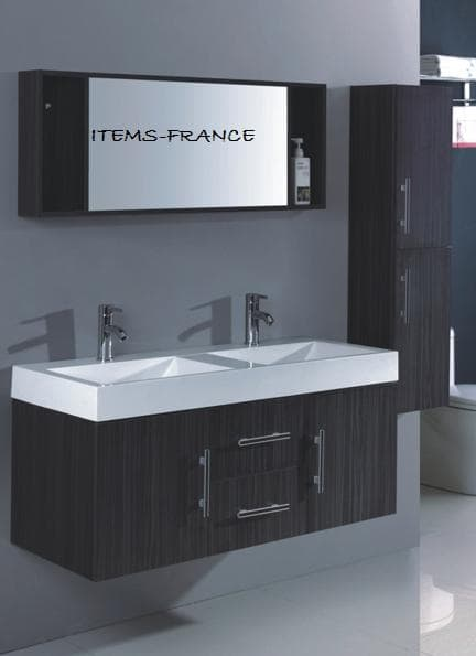 jina grand meuble salle de bain double vasque suspendu avec colon ebay. Black Bedroom Furniture Sets. Home Design Ideas
