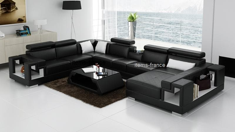 canap panoramique cuir rome canap d 39 angle en cuir 7 personnes. Black Bedroom Furniture Sets. Home Design Ideas