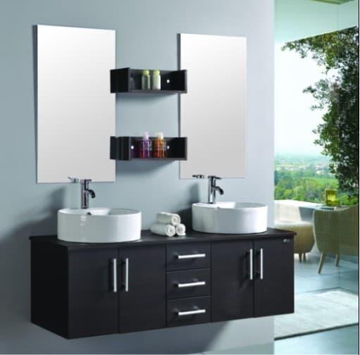 Luxor meuble double vasque de salle de bain contemporain for Meuble salle de bain contemporain