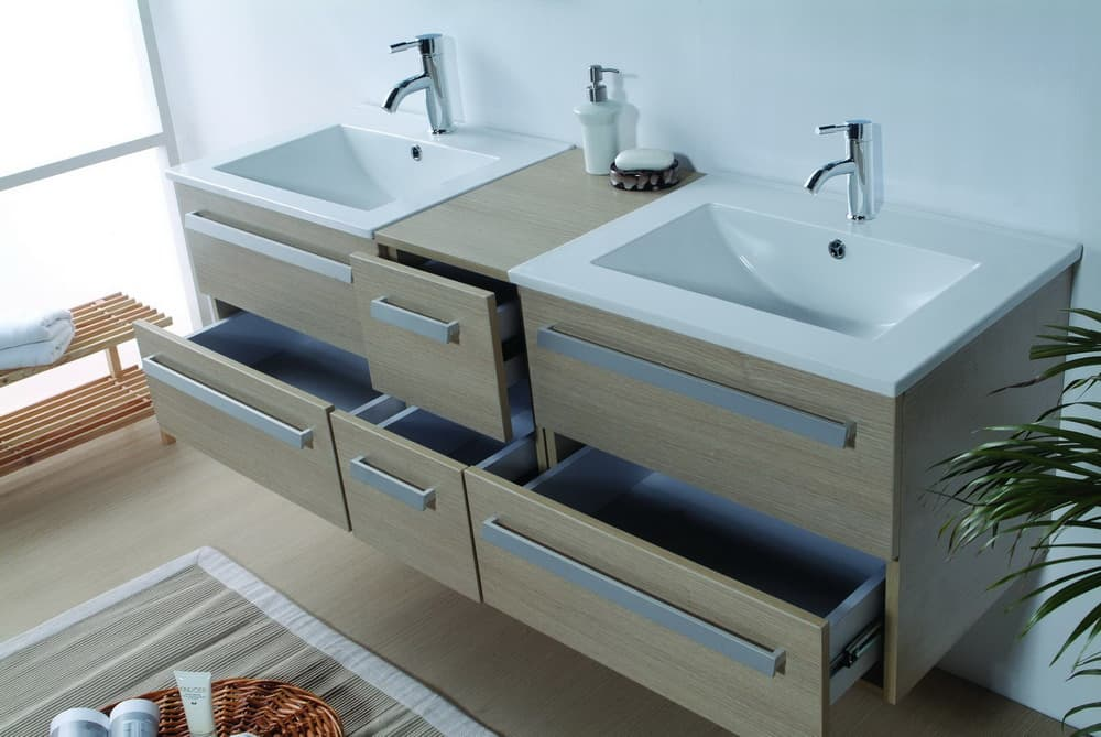Meuble salle de bain riviera2 beige meuble salle de - Produit salle de bain ...