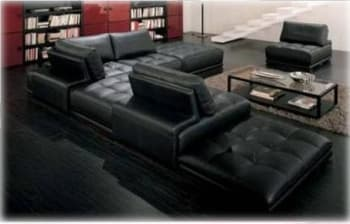 CANAPE CONTEMPORAIN D´ANGLE CUIR 6 PLACES 330X180X100