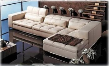 CANAPE CONTEMPORAIN D´ANGLE CUIR 5 PLACES 245X150X110