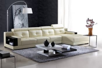 CANAPE CONTEMPORAIN D´ANGLE CUIR 5 PLACES 368X177X98