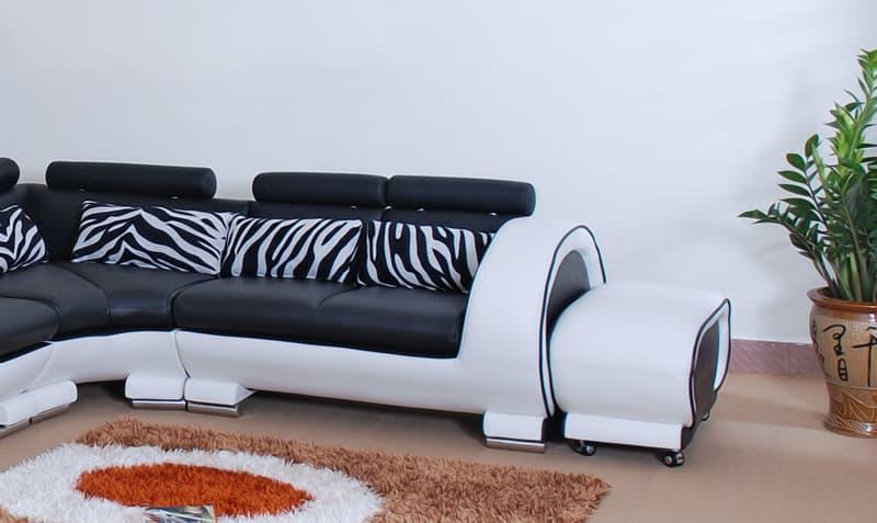 Canap d 39 angle cuir xenon canap en cuir noir et blanc - Changer couleur canape cuir ...
