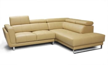 CANAPE CONTEMPORAIN D´ANGLE CUIR 5 PLACES 252x202x102