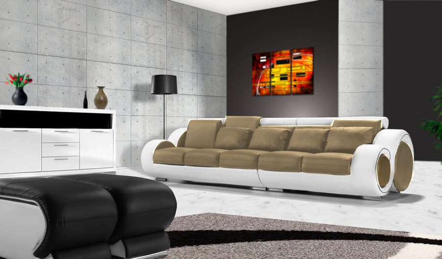 canap droit cuir hawai droit canap cuir blanc et taupe 5 places 313cm. Black Bedroom Furniture Sets. Home Design Ideas