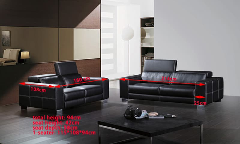 canap droit cuir trani 2 places canap 2 places 214x108. Black Bedroom Furniture Sets. Home Design Ideas