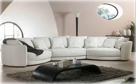 Canap panoramique cuir bassano canap contemporain d - Canape d angle convertible 6 places ...