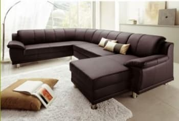 CANAPE CUIR  5/6 PLACES 343X275X185X90