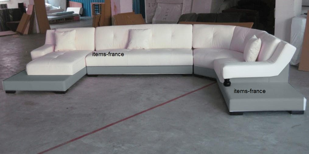 Canap panoramique cuir denver perso canap cuir 6 7 places 375x231x180 g - Canape cuir made in france ...