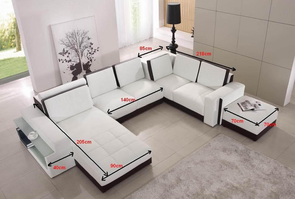 Canap panoramique cuir elena canap cuir 5 places 205x355x288 - Canape cuir made in france ...
