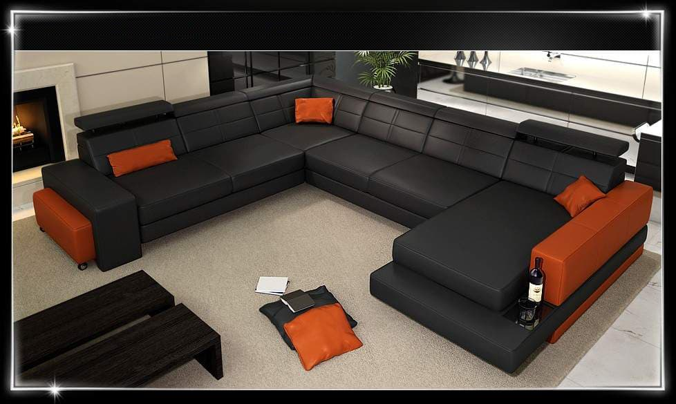 canap panoramique cuir florence liv ita canap cuir 6 places 292x349x185. Black Bedroom Furniture Sets. Home Design Ideas