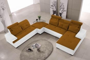 CANAPE CUIR 5 PLACES + POUF SUPPLMEMENTAIRE 240X300X180