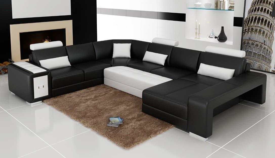 canap panoramique cuir modeno canap d 39 angle en cuir 6 7 personnes. Black Bedroom Furniture Sets. Home Design Ideas