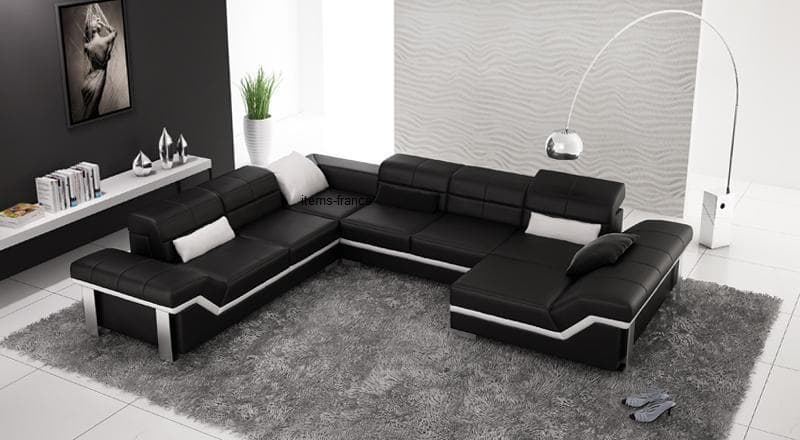 Canap panoramique cuir naples canap d 39 angle noir en cuir 7 personnes - Canape cuir made in france ...