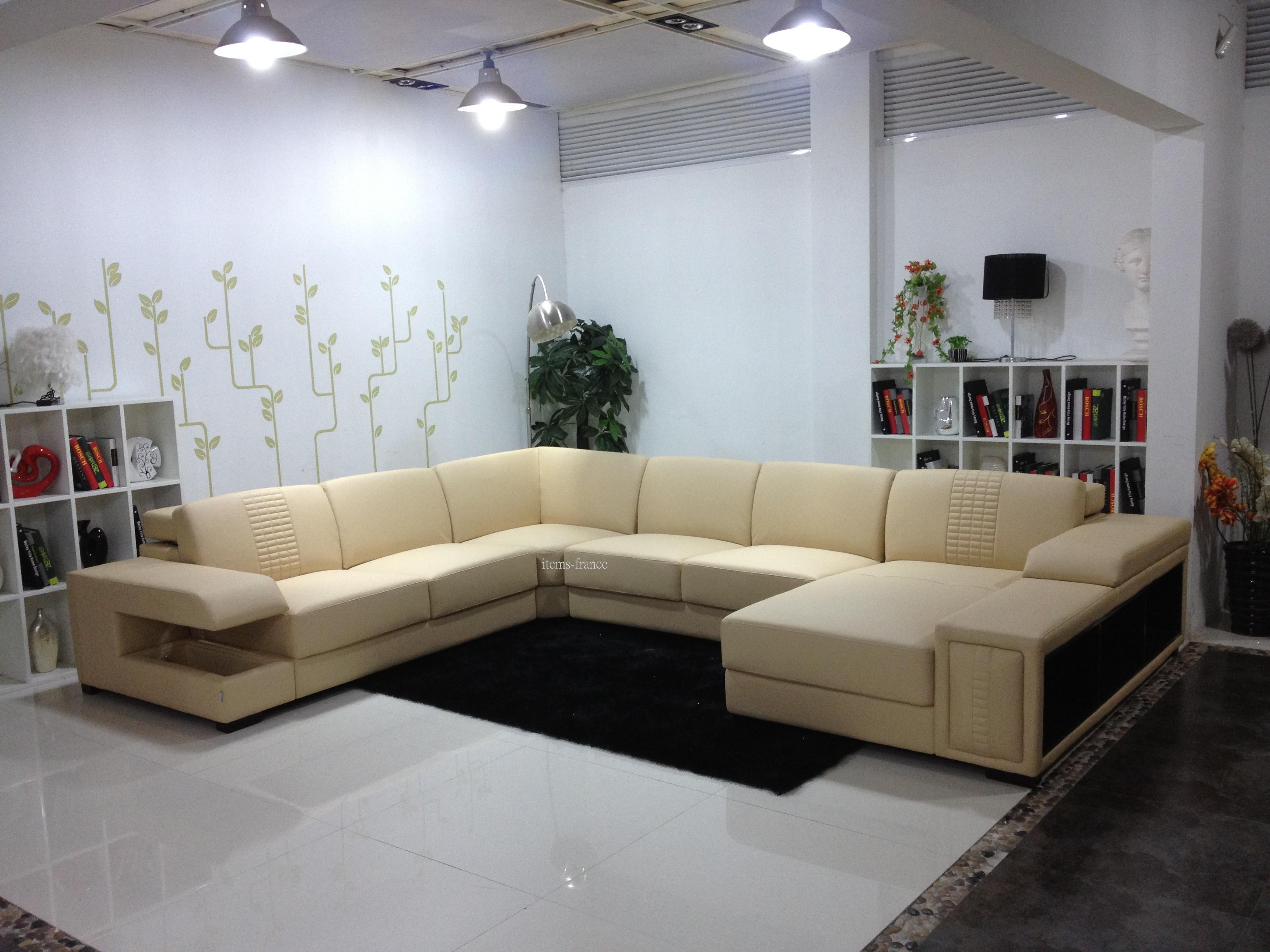 canap panoramique cuir nemosa canap cuir 6 places. Black Bedroom Furniture Sets. Home Design Ideas