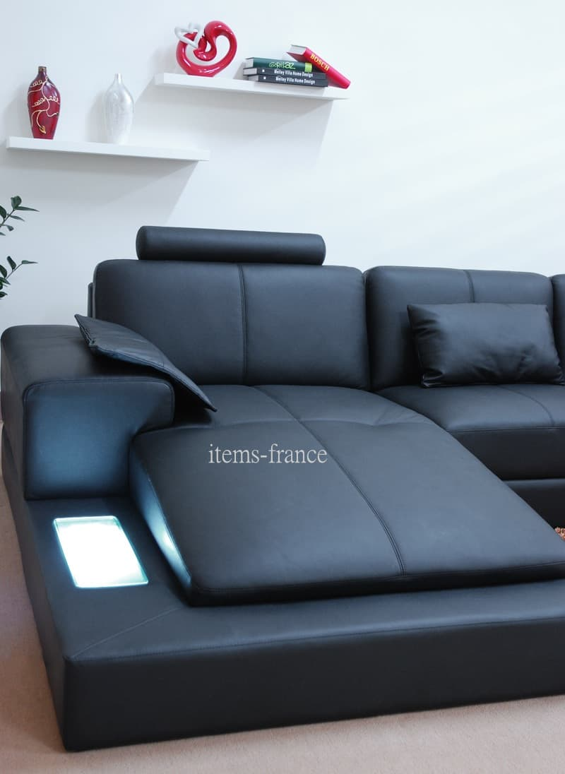 Canap panoramique cuir orana canap cuir 5 6 places 195x389x255 - Canape cuir made in france ...