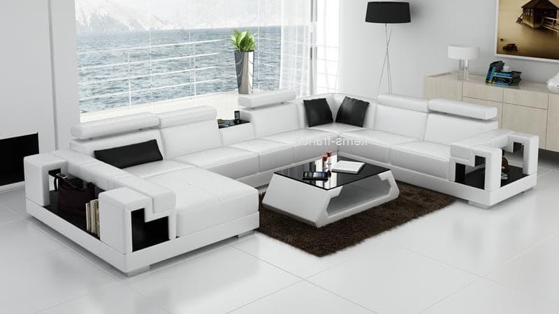 canap panoramique cuir rome blanc et no canap d. Black Bedroom Furniture Sets. Home Design Ideas