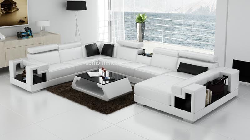 canapé panoramique cuir - rome taupe/blanc : canapé d'angle en