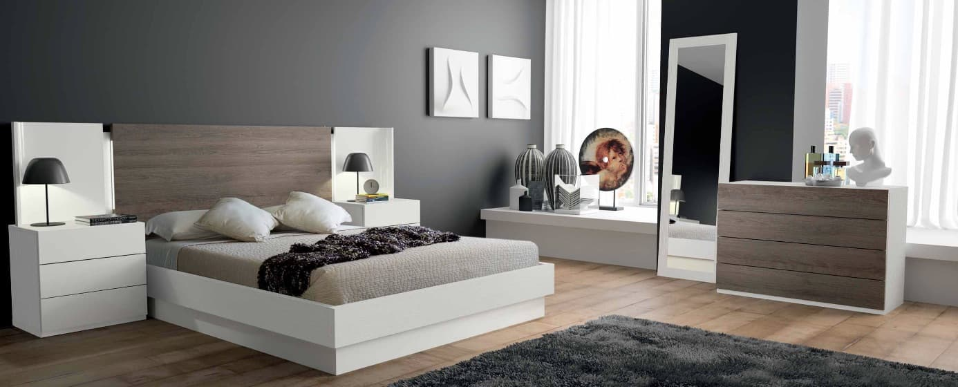 Lit rectangle ambiance bois chambre adulte courbe for Ambiance chambre adulte