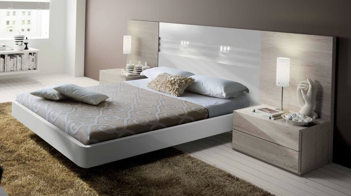 Lit rectangle ambiance bois chambre adulte detente for Ambiance chambre adulte