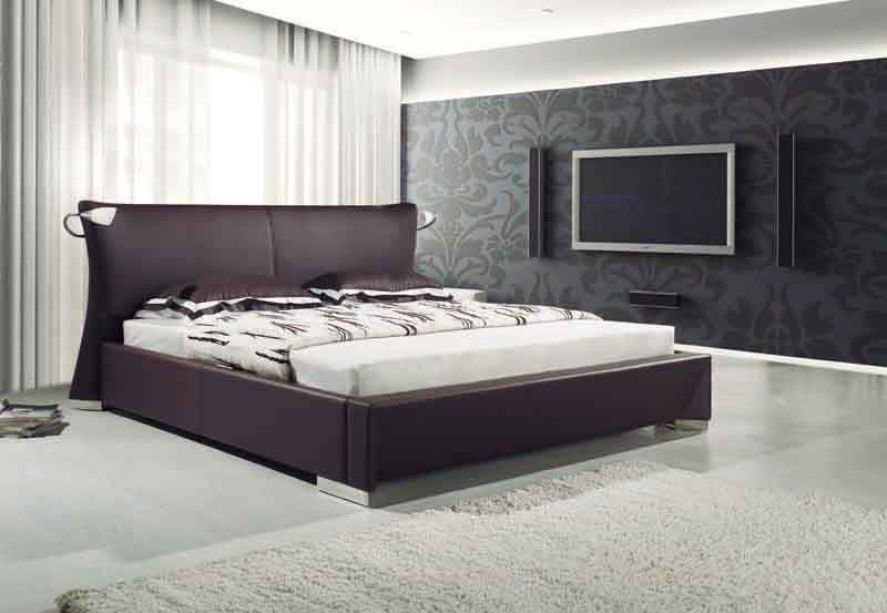 Lit rectangle ambiance cuir chambre adulte lucky lit bordeaux ou choix de couleur 250x192x100 for Ambiance chambre adulte