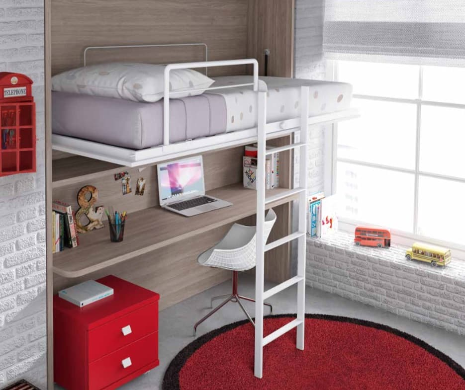chambre enfant marius lit mezzanine escamotable. Black Bedroom Furniture Sets. Home Design Ideas