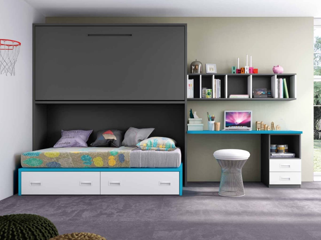 chambre enfant nathan lit mezzanine escamotable avec 1 lit tiroir. Black Bedroom Furniture Sets. Home Design Ideas