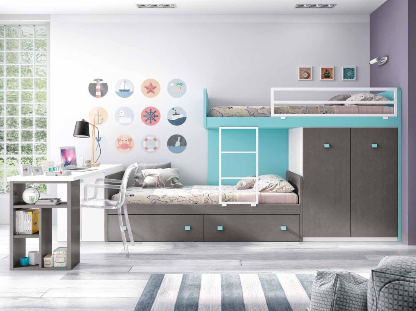 Chambre enfant ryan lits superposes avec placard for Lit mezzanine avec placard