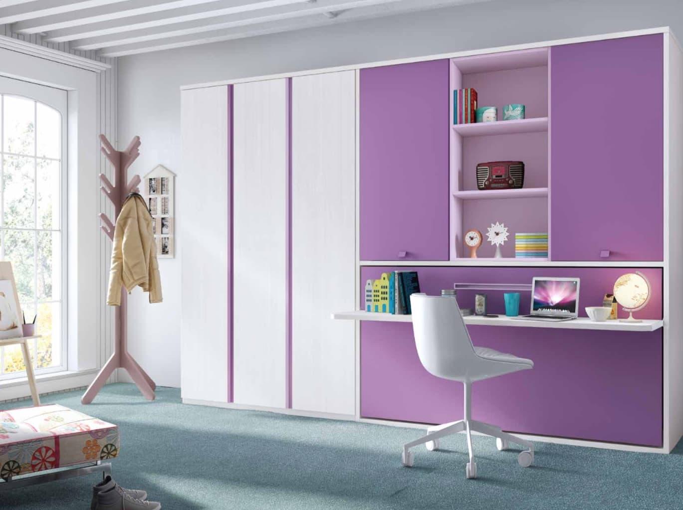 chambre enfant violette lit retractable enfant. Black Bedroom Furniture Sets. Home Design Ideas