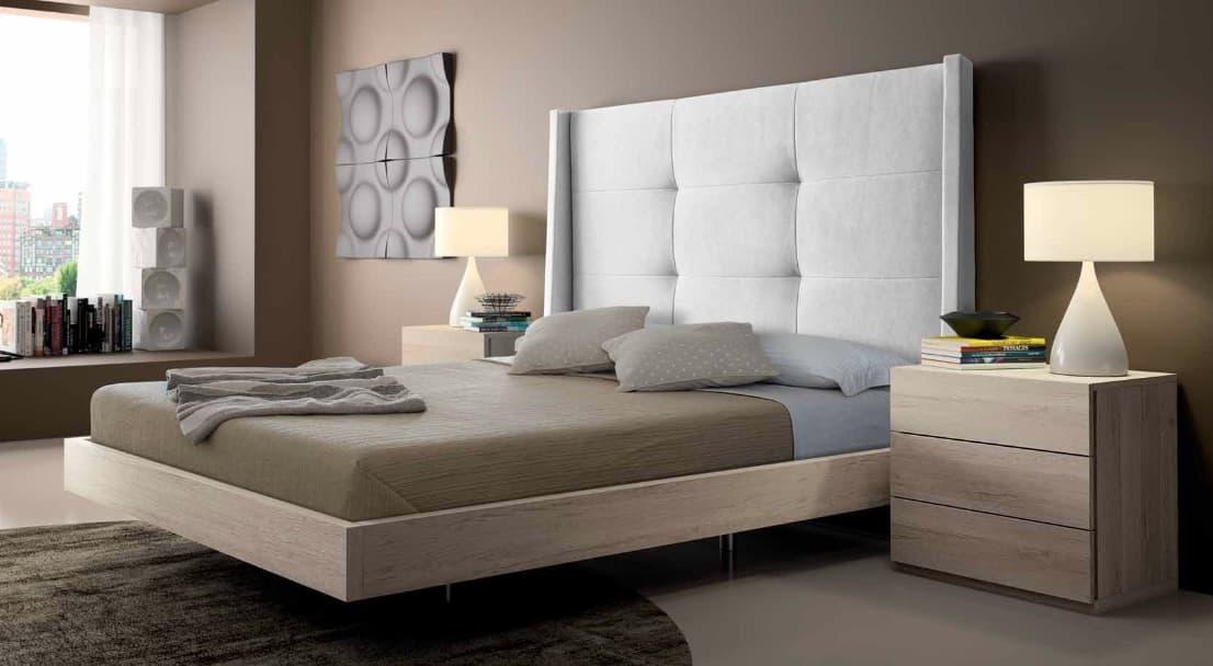 chambre lit rectangle ambiance bois tendance lit adulte design avec chevets personnalisable. Black Bedroom Furniture Sets. Home Design Ideas