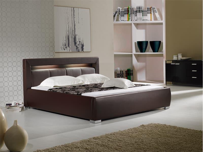 chambre lit rectangle ambiance cuir barry 2 lit matelas sommier 180x200. Black Bedroom Furniture Sets. Home Design Ideas