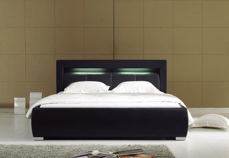 chambre lit rectangle ambiance cuir barry 2 lit matelas sommier 180x200. Black Bedroom Furniture Sets. Home Design Ideas