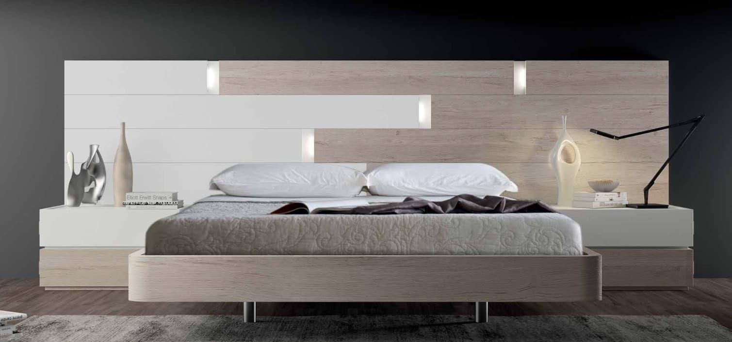 chambre lit rectangle ambiance cuir lumiere lit adulte design avec chevets personnalisable. Black Bedroom Furniture Sets. Home Design Ideas