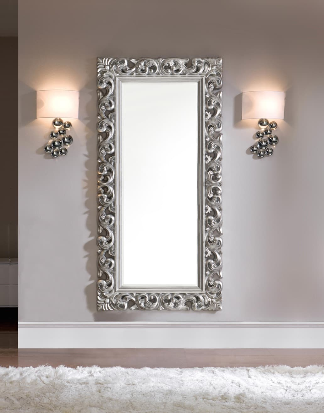 luminaire et d co miroir roma 1 grand miroir antique argent 190x80. Black Bedroom Furniture Sets. Home Design Ideas