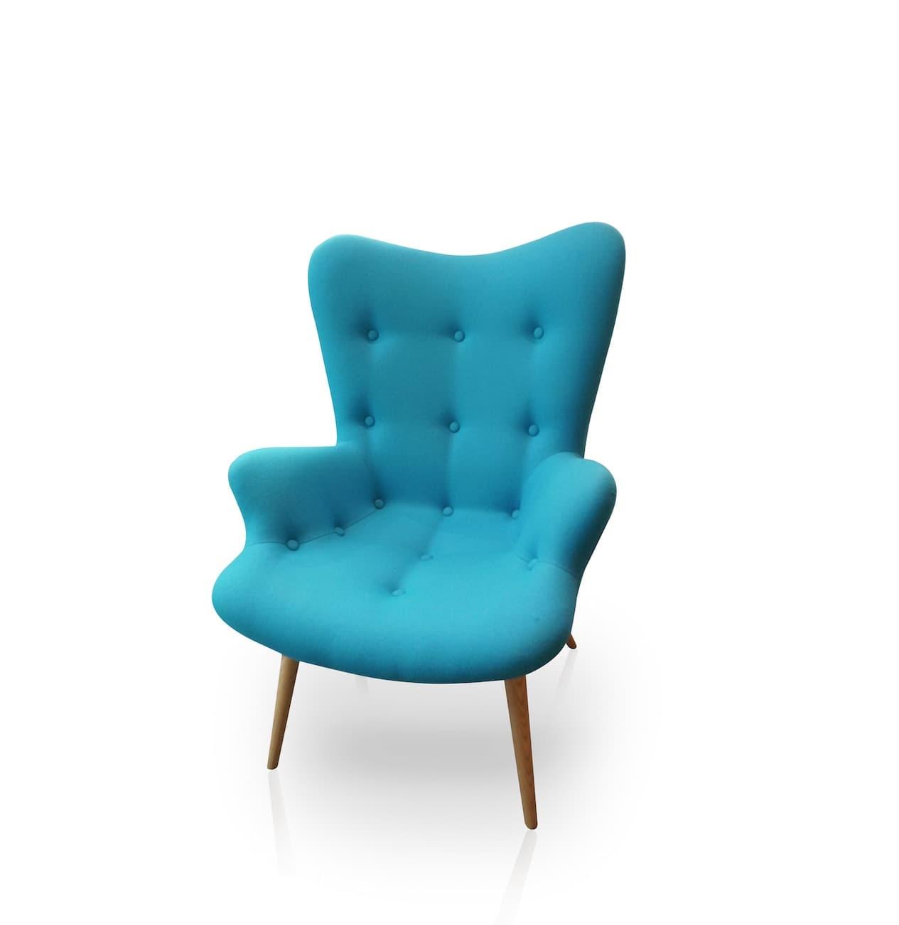 mobilier design meuble blue fauteuil tapiss bleu ciel avec pieds en bois. Black Bedroom Furniture Sets. Home Design Ideas