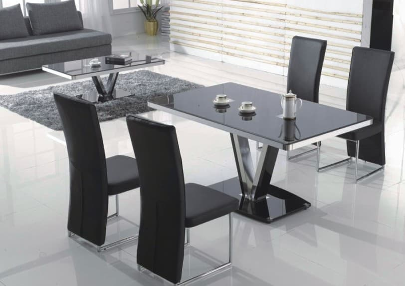 Salle a manger table rectangulaire tina ensemble table 4 chaises - Table salon salle a manger ...