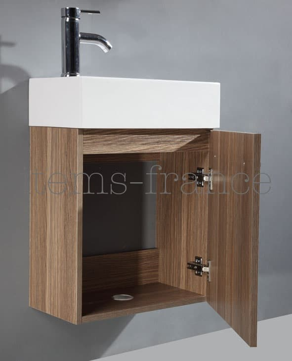 meuble - salle de bain - galia marron : meuble lave main marron ... - Meuble Lave Main Design