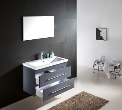 Salle de bain meuble infinite gris meuble gris - Meuble en coin salle de bain ...
