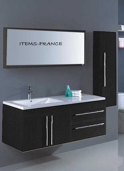 Salle de bain meuble neoma noir colon meuble salle - Meuble de salle de bain contemporain ...
