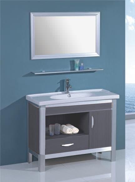Salle de bain meuble palamo gris meuble salle de bain sur pieds 100x45x80 - Meuble salle de bain gris ...