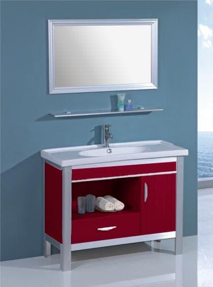 Salle de bain meuble palamo rouge meuble salle de bain rouge sur pieds - Meuble salle de bain rouge pas cher ...