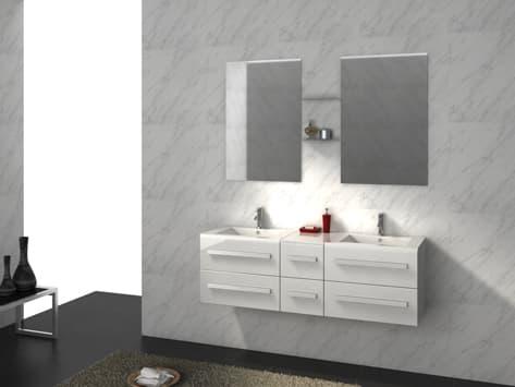 Salle de bain meuble riviera2 blanc meuble salle de bain double vasques - Meuble salle bain blanc ...