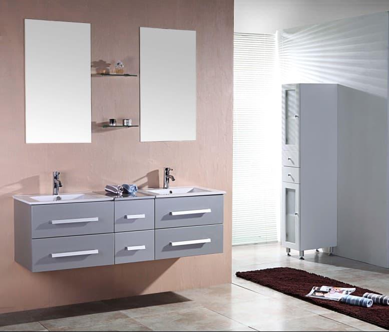 salle de bain meuble riviera2 gris meuble salle de bain contemporain 150x48 gris. Black Bedroom Furniture Sets. Home Design Ideas