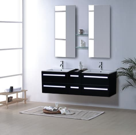 salle de bain meuble riviera2 noir meuble salle de bain contemporain 150x48 noir laque. Black Bedroom Furniture Sets. Home Design Ideas