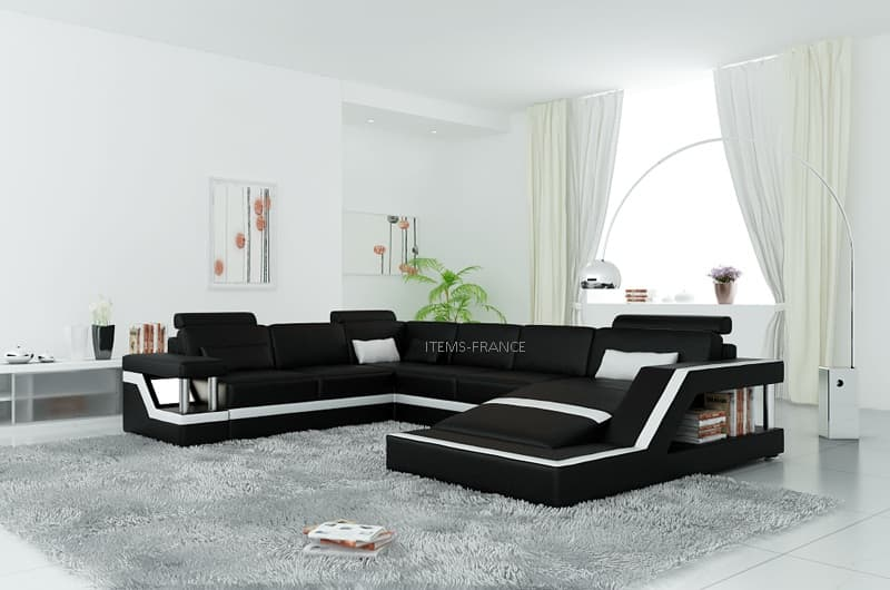 canape convertible salon rimini 2 canape lit cuir 5 6 places 259x341x192. Black Bedroom Furniture Sets. Home Design Ideas