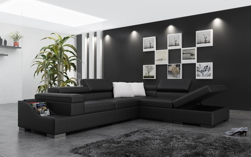 canape d angle cuir salon genova xl canape d 39 angle noir en cuir 5 personnes. Black Bedroom Furniture Sets. Home Design Ideas