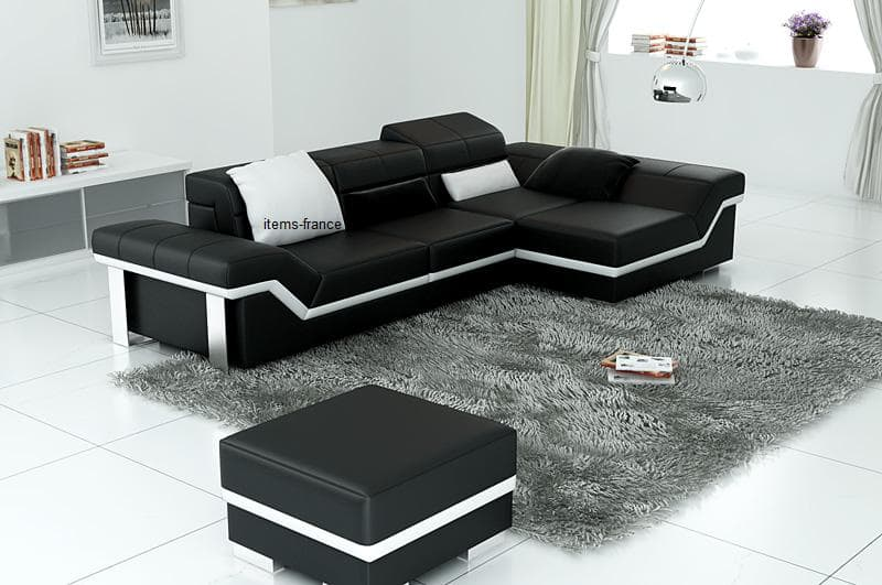 canape d angle cuir salon naples 4 canape d 39 angle noir en cuir 4 personnes pouf. Black Bedroom Furniture Sets. Home Design Ideas