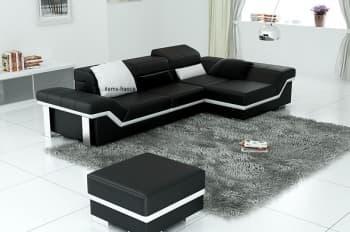 Canape d angle cuir salon presentation des produits - Canape d angle en cuir noir ...